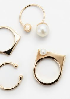 Pearly bead ring set | MANGO