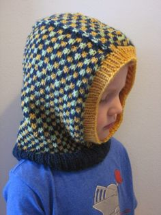 Kids' Dice Check Balaclava: knit with ~200 yards of worsted weight yarn and size 5 & 6 needles
