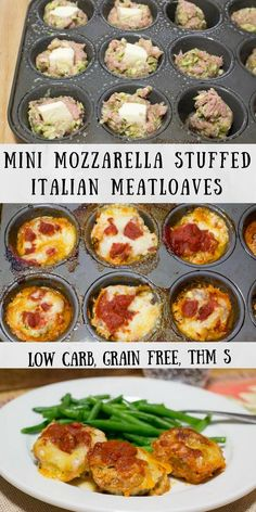 Mini Mozzarella Stuffed Italian Meatloaves - Low Carb, Grain Free, THM S - these cook faster than a big meatloaf & you don't need to roll them into balls. They are a perfect weeknight meal. via @joyfilledeats