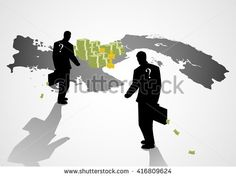 Silhouette illustration of businessman with suitcase walking to the map of Panama, Panama papers, business, evasion, scandal, corruption concept - stock vector
