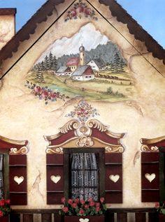 Bavarian Folk Art Furniture - Bing Images - love the shutters German Houses, German Folk, Pintura Country, Tole Painting, Painting Tips, Watercolor Painting, Bavaria Germany, Art Furniture, Black Forest