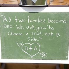 Seat yourself wedding sign wedding pinterest wedding and alanna and dereks do it yourself sign kindly asking their families to have solutioingenieria Image collections