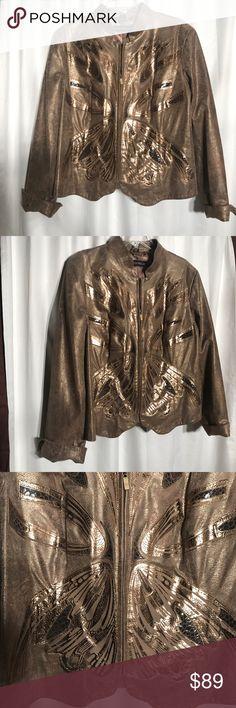 Pamela McCoy gold leaf leather jacket. Sz 1X. Pamela McCoy gold leaf leather butterfly jacket. Sz 1X. Stunning jacket just in time for fall. Pamela McCoy Jackets & Coats