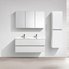Meuble lave main salle de bain design SIENA largeur 40 cm Blanc