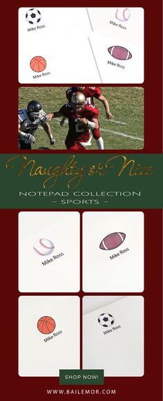 Personalized sports notepads great for stocking stuffers and coaches gift.