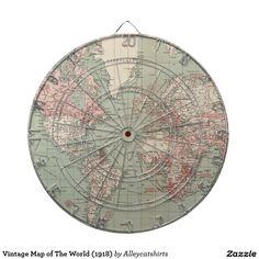 Vintage Map of The World (1918) Dartboard