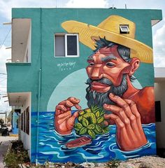 by Apitatan in Holbox, Mexico, (LP) Urban Street Art Graffiti Murals, Murals Street Art, Urban Street Art, Urban Art, 3d Street Painting, Grafitti Street, Graffiti Tagging, Amazing Street Art, Folk