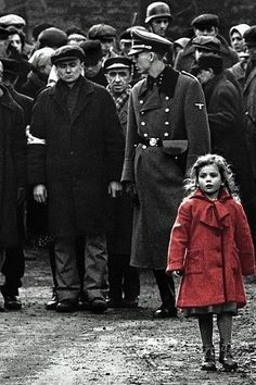 whenever I think about this movie, it's the little girl in the red coat that first comes to mind