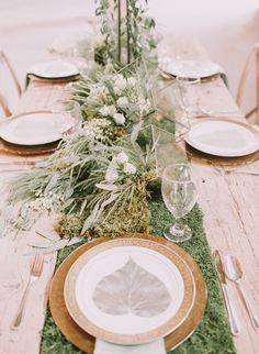 We love this neutral and natural palette, especially how it is executed here in this ivory and green farmhouse wedding inspiration. Green Weddings, Rustic Weddings, Fern Wedding, Wedding Flowers, Fern Bouquet, Summer Wedding, Wedding Day, Table Scapes, Wedding Goals