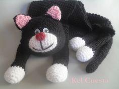 PRODUTO EXCLUSIVO!!! <br>Cachecol feito com lã acrílica em forma de gato <br> <br>Comprimento 1,45m <br>Largura 14 cm