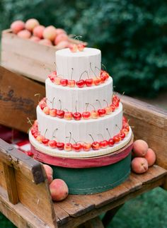 Cake with cherries #Rustic #Country #wedding #ideas … Wedding ideas for brides, grooms, parents & planners https://itunes.apple.com/us/app/the-gold-wedding-planner/id498112599?ls=1=8 … plus how to organise an entire wedding, without overspending. More wedding ideas http://pinterest.com/groomsandbrides/boards/ ♥ The Gold Wedding Planner iPhone #App ♥ #wedding #ceremony #reception #rustic #country #bride #bridesmaids #groom #groomsmen #bouquets #dresses #rings #tables #favors