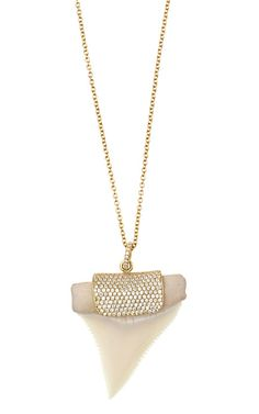 Shop White Shark Tooth Necklace With Pavé Clamp by Anita Ko for Preorder on Moda Operandi