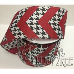 """Houndstooth with Chevron Stripe Ribbon Size: 2.5"""" in width; 10 yards length Color: Black, White, Red Wire Edge, houndstooth pattern and dark red chevron stripes printed on ribbon."""