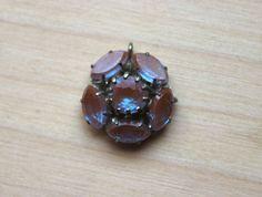 Necklace pendant SAPHIRET glass flower Gablonz Art Deco 1900 1910 Victorian rare