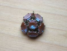 Necklace pendant SAPHIRET glass flower Gablonz Art Deco 1900 1910 Victorian rare