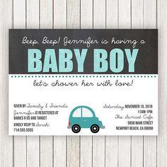 Car Baby Shower Invitation  Baby Boy Shower Invites  Baby