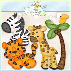 Best Friends Cards 1 by Cheryl Seslar (CU) : Digi Web Studio, Clip Art, Printable Crafts & Digital Scrapbooking! Clipart, Jungle Animals, Cute Animals, Baby Animals, Felt Crafts, Paper Crafts, Jungle Theme, Punch Art, Digi Stamps