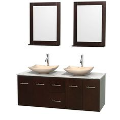 "Centra 60"" Double Espresso Bathroom Vanity Set with Mirror Top Finish: White Carrera Marble, Sink Finish: White Porcelain - http://bathroomvanitiespot.com/centra-60-double-espresso-bathroom-vanity-set-with-mirror-top-finish-white-carrera-marble-sink-finish-white-porcelain-668148415/"