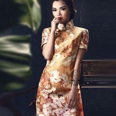 Magnolia Pattern Beijing Cheongsam Dresses Yellow by AnnularRings, $542.00