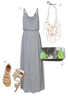 estilo verão: vestido maxi, declaração colar, bolsa de embreagem // clique para mais detalhes equipamento