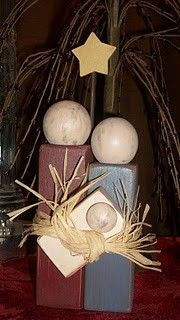Wooden pieces for a nativity scene.