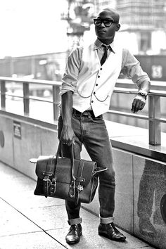 Smart Men's Fashion - dressed up casual with best and tie and jeans