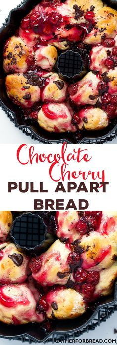 Chocolate Cherry Pull Apart Bread - Homemade bread with a sweet cherry and chocolate touch. Irresistible! /redstaryeast/