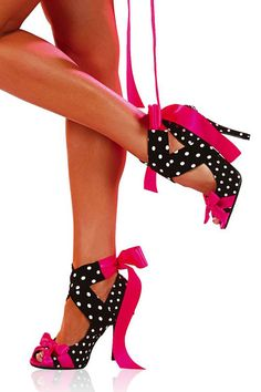 fuchsia. hot pink. ribbons. black and white, polka dots. shoes. heels. sexy.