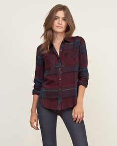 Womens Plaid Flannel Shirt | Continue your pattern of plaid in supersoft flannel and pretty all-over pattern, featuring two front pockets and a button-down closure, a logo at left pocket and curved hem | Abercrombie.com