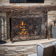 """Laurentia Panel Iron Fireplace Screen Finish: Brown >  WYF078277570977 Finish: Brown Features: -Material: iron. -Silver flower on black. Product Type: -Fireplace screen. Primary Material: -Iron. Dimensions: -Base: 10"""" D. Overall Height - Top to ... Check more at http://farmgardensuperstore.com/product/laurentia-panel-iron-fireplace-screen-finish-brown/"""