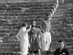 EVGENIA GL Sir Winston and Lady Churchill on holiday guests of Aristotle Onassis GREECE Athens MS Sir Winston Lady Churchill seated in Epidaurus ancient theatre...