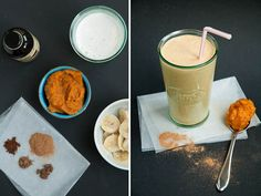 Pumpkin Pie Smoothie. Because it should be Fall all of the time.  Add a scoop of protein powder for a sweet and delicious meal.