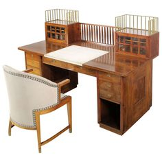 Desk And Chair By Josef Hoffmann, Ca. 1905 | From a unique collection of antique and modern desks and writing tables at http://www.1stdibs.com/furniture/tables/desks-writing-tables/