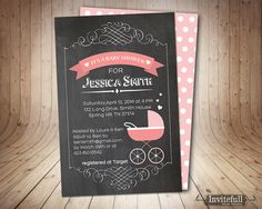 Baby Shower InvitationChalkboard baby shower by invitefull on Etsy