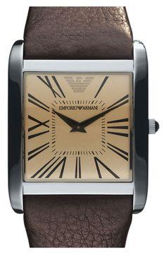 Emporio Armani Square Case Leather Strap Watch | Nordstrom