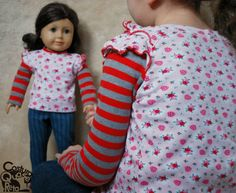 Costura - Roupa de boneca (18 polegadas) e menina Sewing American girl doll matching clothes Costura Quase Reta