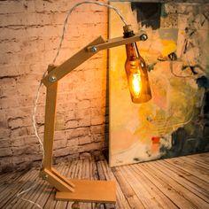 "Lámpara escritorio botella marron reciclada - ""Mediterraneo marron"" - Lámpara customizable - Lámpara botella cerveza - Lámpara hecha a mano"