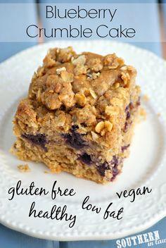 Vegan Blueberry Crumble Cake Recipe - gluten free, low fat, lower sugar, vegan, dairy free, egg free