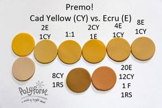 Cad Yellow and Ecu The bottom two colors – the left one is from the Moroccan mix (3 Cad Yellow/1 Raw Sienna)  The one on the right is the match for the photo with 20 Ecru, 12 Cad Yellow, 1 Fuschia and 1 Raw Sienna #Polymer #Clay #Colormix