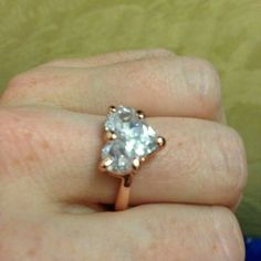 Ring wedding ring 18K rose gold heart-shaped silver cubic zirconia rings romantic size 6 Jewelry Necklaces