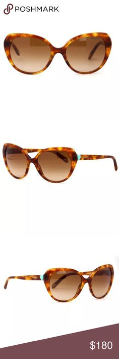 """Tiffany & Co Sunglasses Light Havana TF4088 Tiffany & Co. sunglasses. Light havana plastic frame with brown gradient lenses with anti-glare coating and 100% UVA and UVB protection. Prescription friendly. Guaranteed authentic.   Brand new, Comes with case only. All pictures provided are of the actual item for sale. TF4088 8030/3B   TEMPLE: 135mm BRIDGE: 18mm LENS: 56mm FRAME WIDTH: 5.5"""" FRAME THICKNESS: 6.7mm Tiffany & Co. Accessories Sunglasses"""