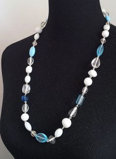 Classic long wire and glass beads necklace light blue by marziafi, $18.00