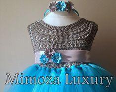 Elsa Deluxe Princess turquesa tutu vestido congelada fiesta