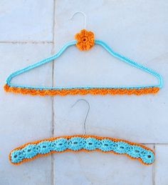 Crocheted Wire Hanger cover with wood hanger