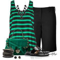 """Green  Black Summer Style"" by kginger on Polyvore"