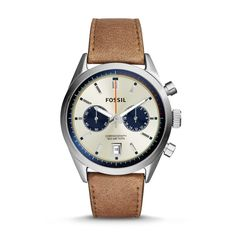 bd1e0e1129e Fossil  Del Rey  Chronograph Leather Strap Watch for men - Two chronograph  subdials and a handy date window detail the three-hand dial of a classic ...