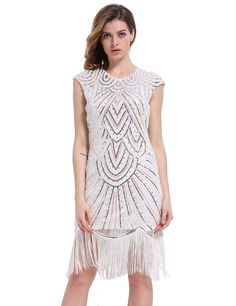 Amazon.com: PrettyGuide Women 1920s Gastby Diamond Sequined Embellished Fringed Flapper Dress: Clothing