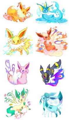 eevee, vaporeon, jolteon, flareon, espeon, umbreon, leafeon, glaceon, pokemon