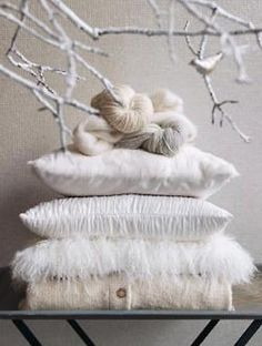 white pillows and wool winter styling Winter Wonderland, White Pillows, Throw Pillows, White Linens, Scatter Cushions, Shades Of White, Color Shades, Pure White, White White