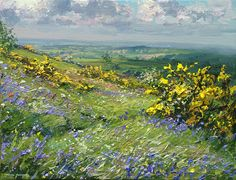 'Sunlit Gorse and Bluebells, Ashleyhay' by Mark Preston. Part of his two man exhibition with Rex Preston, opening at gallerytop on 3 October 2015